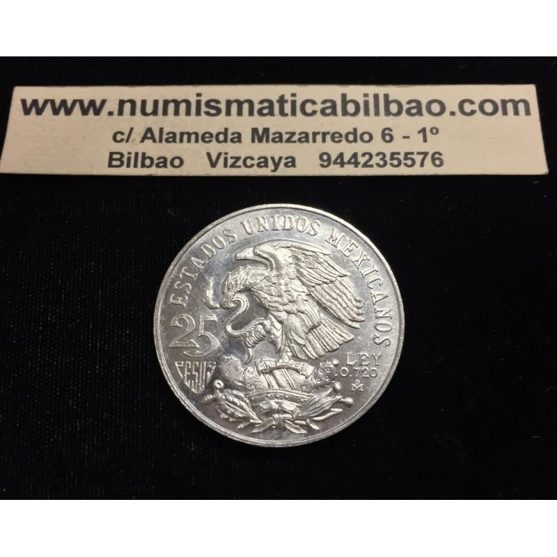 Mexico 25 Pesos 1968 Juegos Olimpicos Tipo Iii Error Aros Bajos