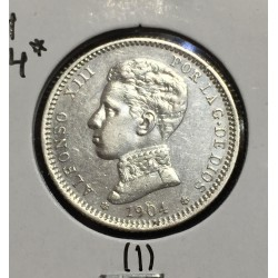 ESPAÑA 1 PESETA 1904 * 19 04 SMV REY ALFONSO XIII KM.721 MONEDA DE PLATA EBC Spain silver 1