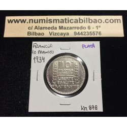 FRANCIA 10 FRANCOS 1934 BUSTO DE DAMA Ceca de TURIN KM.878 MONEDA DE PLATA @LUJO@ France Silver Francs