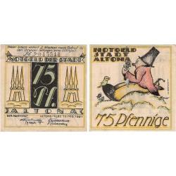 @NOTGELD@ ALEMANIA 75 PFENNIG 1921 STADT ALTONA SEÑOR CON PAJARO y FLOR BILLETE SC Germany