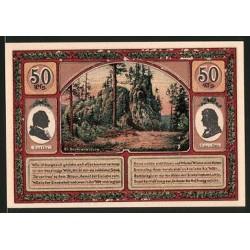 @NOTGELD@ ALEMANIA 50 PFENNIG 1921 STADT HERMANNSTEIN JIMENAU GOETHE PORTRAIT BILLETE SC Germany