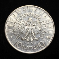 POLONIA 10 ZLOTY 1936 W JOZEF PILSUDSKI y AGUILA 2ª República KM.Y29 MONEDA DE PLATA EBC/SC Poland 10 Zlotych silver
