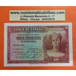 ESPAÑA 10 PESETAS 1935 DAMA Serie B0 144651 Pick 86 BILLETE SIN CIRCULAR SC II REPUBLICA ESPAÑOLA