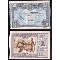 @OFERTA@ BILBAO 50 PESETAS 1937 BANCO de VIZCAYA 053607 BILLETE EBC GOBIERNO DE EUSKADI GUERRA CIVIL