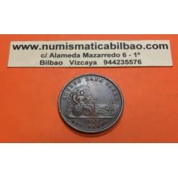 CANADA 1 PENNY 1852 QUEBEC BANK TOKEN DAMA y BARCO KM.TN.21 MONEDA TOKEN DE COBRE DEUX SOUS Province Du Canada