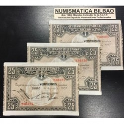 . 25 PESETAS 1937 BILBAO BANCO HISPANO TRIO CORRELATIVO EUZKADI