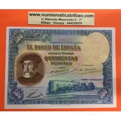 @MUY RARO@ ESPAÑA 500 PESETAS 1935 HERNAN CORTES Sin Serie 1385235 Pick 89 BILLETE SIN CIRCULAR SC PLANCHA Spain