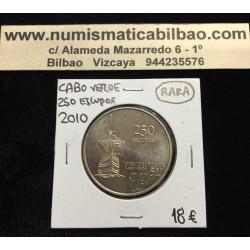 CABO VERDE 250 ESCUDOS 2010 BARCO 550 AÑOS DEL DESCUBRIMIENTO KM.51 MONEDA DE NICKEL Cape Verde Portugal