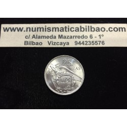 ESPAÑA 25 PESETAS 1957 * 64 FRANCO SIN CIRCULAR NICKEL NO PLUS