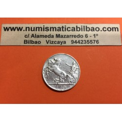 ITALIA 10 LIRAS 1927 BIGA REY VITTORIO EMANUELLE III KM.68.2 MONEDA DE PLATA @RARA@ MBC Italy Lires Silver