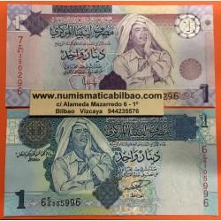 @MUAMAR EL GADAFFI@ LIBIA 1 DINAR 2004 Pick 68 + 1 DINAR 2009 Pick 71 BILLETES SC LIBYA banknotes