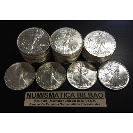 @COLECCION COMPLETA 32 MONEDAS@ ESTADOS UNIDOS 1 DOLAR 1986 al 2017 EAGLE LIBERTY PLATA SC 1 ONZA OZ OUNCE $1 Dollar USA