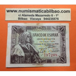 ESPAÑA 1 PESETA 1945 REINA ISABEL LA CATOLICA SIN SERIE 797208 Pick 128 BILLETE EBC- @MANCHAS@ Spain