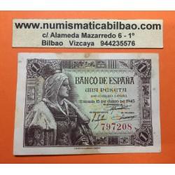 ESPAÑA 1 PESETA 1945 REINA ISABEL LA CATOLICA SIN SERIE 797208 Pick 128 BILLETE MBC @RARO - MANCHAS@ Spain