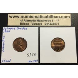 ESTADOS UNIDOS 1 CENTAVO 1966 P LINCOLN KM.201B MONEDA DE COBRE SC USA
