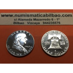 ESTADOS UNIDOS 1/2 DOLAR 1962 P BENJAMIN FRANKLIN KM.163 MONEDA DE PLATA @PROOF@ USA HALF DOLLAR SILVER