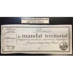 FRANCIA 25 FRANCOS 1796 PROMESSE DE MANDAT TERRITORIAL AÑO 4 DE LA REPUBLICA Pick A83B MBC+ France 25 Francs