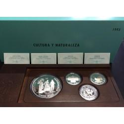 ESPAÑA CULTURA y NATURALEZA 2ª SERIE 2000 PESETAS + 5000 PESETAS + 10000 PESETAS 1995 FNMT 4 MONEDAS DE PLATA ESTUCHE CERTIF.