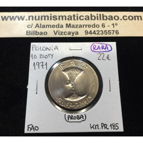 @PROBA@ POLONIA 10 ZLOTY 1971 BEBE TOMANDO EL PECHO FAO WORLD FOOD DAY KM.PR.185 MONEDA DE NICKEL @LUJO@ Poland 10 Zlotych