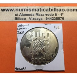 LIBERIA 5 DOLARES 2000 MAPA y BANDERA DE EUROPA LLEGADA DEL EURO MONEDA DE NICKEL SC