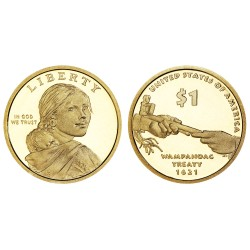 @RARA@ ESTADOS UNIDOS 1 DOLAR 2011 S INDIA SACAGAWEA MONEDA DE LATON PROOF US $1 DOLLAR COIN