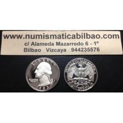 ESTADOS UNIDOS 1/4 DOLAR 1992 S WASHINGTON PROOF NICKEL QUARTER