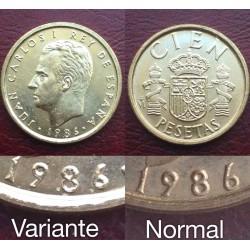 ..ERROR 100 PESETAS 1986 BUSTO PEQUEÑO SC JUAN CARLOS I ESPAÑA