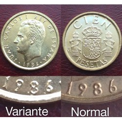 @ERROR BUSTO PEQUEÑO y AGUJERO DEL 6 MAS CERRADO@ ESPAÑA 100 PESETAS 1986 JUAN CARLOS I MONEDA SIN CIRCULAR