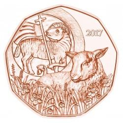 AUSTRIA 5 EUROS 2017 CORDERO SAGRADO DE PASCUA MONEDA DE COBRE SC Osterreich Euro Coin