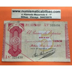 BILBAO 5 PESETAS 1936 Letra A CAJA DE AHORROS VIZCAINA 523430 GOBIERNO DE EUSKADI BILLETE LOCAL GUERRA CIVIL