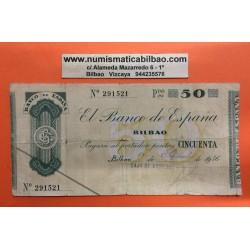 @OFERTA@ BILBAO 50 PESETAS 1936 CAJA DE AHORROS VIZCAINA 291521 @CORTE CENTRAL@ GOBIERNO DE EUSKADI BILLETE LOCAL GUERRA CIVIL
