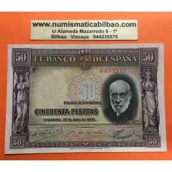 ESPAÑA 50 PESETAS 1935 SANTIAGO RAMON y CAJAL SIN SERIE 0433572 Pick 88 BILLETE EBC- @DOBLEZ@ Spain