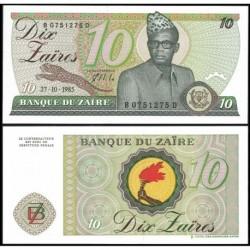 ZAIRE 10 ZAIRES 1985 PRESIDENTE CON GUEPARDO Pick 27A BILLETE SC Banque du Zaire Dix Zaires UNC BANKNOTE