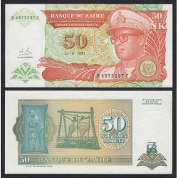 . ZAIRE 50 NUEVOS ZAIRES 1993 GENERAL Pick 51 SC BILLETE MAKUTA