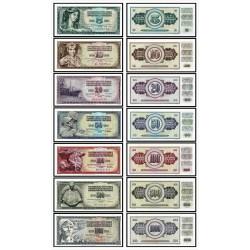 @7 BILLETES@ YUGOSLAVIA 5+10+20+50+100+500+1000 DINARA 1968 1978 1981 PERSONAJES SC