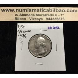 ESTADOS UNIDOS 1/4 DOLAR 1976 S WASHINGTON BICENTENARIO 1776 KM.204 MONEDA DE NICKEL SC- USA Quarter