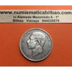 @DOBLE ERROR@ ESPAÑA 5 PESETAS 1882 sobre 1881 * 18 81 MSM REY ALFONSO XII MONEDA DE PLATA (DURO) Spain silver KM.688