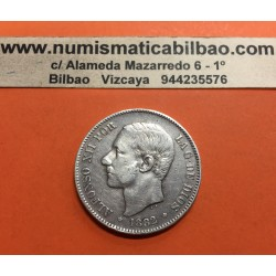 @VARIANTE 2@ ESPAÑA 5 PESETAS 1882 sobre 1881 * 18 81 MSM REY ALFONSO XII KM.688 MONEDA DE PLATA (DURO) Spain silver V2