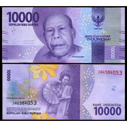 INDONESIA 10000 RUPIAS 2016 FRANS KAISEPO y BAILARINA CON ABANICO Pick NEW BILLETES SC 10000 RUPIAH UNC BANKNOTE