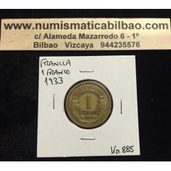 FRANCIA 1 FRANCO 1933 DAMA Tipo MORLON KM.885 MONEDA DE LATON MBC+ France 1 Franc