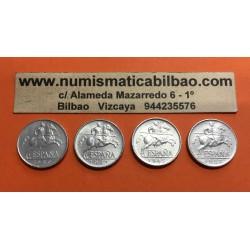 @4 MONEDAS@ ESPAÑA 5 CENTIMOS 1940 + 5 CENTIMOS 1941 + 5 CENTIMOS 1945 + 5 CENTIMOS 1953 JINETE KM.765 ALUMINIO EBC/SC