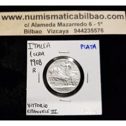 ITALIA 1 LIRA 1908 R REY VITTORIO EMANUELE III CUADRIGA VELOCE KM.45 MONEDA DE PLATA @RARA@ Italy silver 1 Lire coin