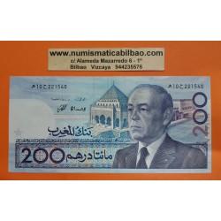 MARRUECOS 200 DIRHAMS 1987 REY HASSAN II TOUAREGS y BARCO VELERO Pick 66A BILLETE EBC @DOBLEZ CENTRAL@ Morocco banknote