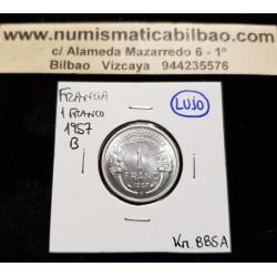 FRANCIA 1 FRANCO 1957 B DAMA Tipo MORLON KM.885A MONEDA DE ALUMINIO @LUJO@ France 1 Franc