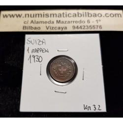 SUIZA 1 RAPPEN 1930 B ESCUDO KM.3.2 MONEDA DE BRONCE EBC Switzerland