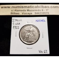 @OFERTA@ ITALIA 1 LIRA 1922 R DAMA SENTADA Epoca REY VITTORIO EMANUELE III KM.62 MONEDA DE NICKEL MBC++ Italy 1 Lire