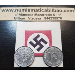 @OFERTA@ ALEMANIA 10 REICHSPFENNIG 1940/1941/1942/1943/1944 ESVASTICA NAZI III REICH KM.101 MONEDA DE ZINC