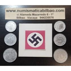 @OFERTA@ ALEMANIA 1+5+10 REICHSPFENNIG 1940/1941/1942/1943/1944 ESVASTICA NAZI III REICH 3 MONEDAS DE ZINC