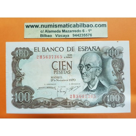 @CAPICUA@ ESPAÑA 100 PESETAS 1970 MANUEL DE FALLA Serie 2H 5637365 Pick 152 EBC- Spain