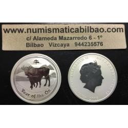 AUSTRALIA 50 CENTAVOS 2009 AÑO DEL BUEY 2ª SERIE LUNAR MONEDA DE PLATA Half Dollar silver 1/2 OZ ONZA OUNCE YEAR OF THE OX